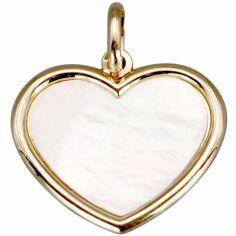 Médaille nacre cœur personnalisable (or jaune 18 carats)