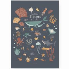 Affiche A3 Les petits trésors de la mer bleue