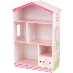 Bibliothèque maison de poupée rose
