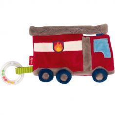 Doudou anneau à billes frou-frou camion de pompiers