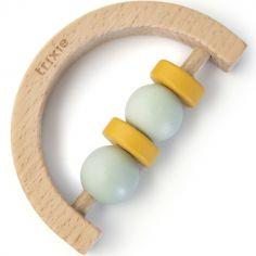 Hochet demi-cercle en bois mint et jaune