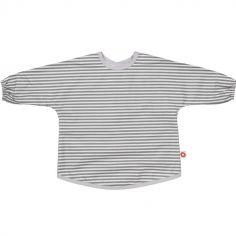 Bavoir tablier rayé gris en coton bio (2-5 ans)