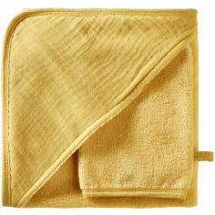 Cape de bain + gant en bambou moutarde blush Mix & Match (70 x 70 cm)
