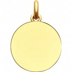 Médaille laïque unie à graver ronde (or jaune 750°)