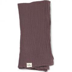 Lange en bambou et coton violet Plum Love (80 x 80 cm)