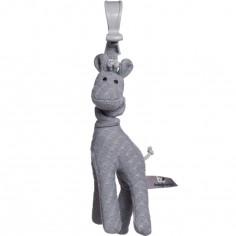 Peluche vibrante girafe à suspendre grise