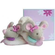 Chaussons Souris Pearly avec hochet (6-12 mois)
