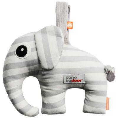 Doudou musical à suspendre Elphee l'éléphant gris (16 cm)  par Done by Deer