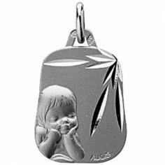 Médaille trapèze Ange rêveur 18 mm (or blanc 750°)