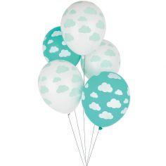Ballons de baudruche tatoués nuages (5 pièces)