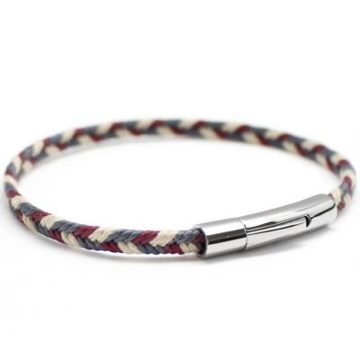 Bracelet homme Le Tressé bleu blanc rouge personnalisable (acier, coton) Petits trésors