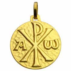 Médaille ronde Monogramme du Christ 18 mm (or jaune 750°)