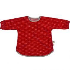 Bavoir tablier rouge en coton bio (2-5 ans)