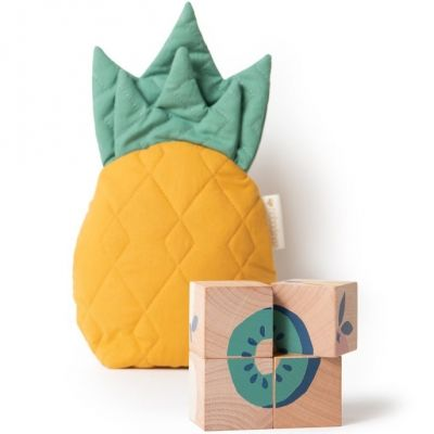 Puzzle cubes en bois Fruits (4 cubes)  par Nobodinoz
