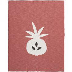Couverture en coton bio ananas corail (80 x 100 cm)
