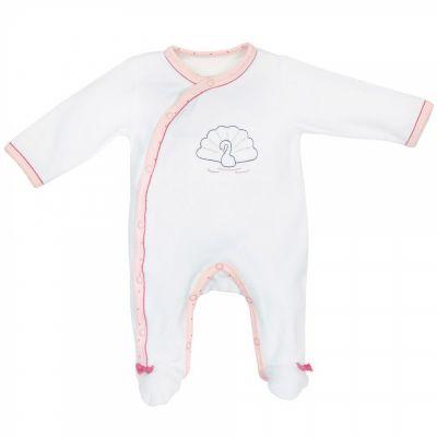 Pyjama chaud velours croisé cygne Baby Swan (3 mois)  par Sauthon