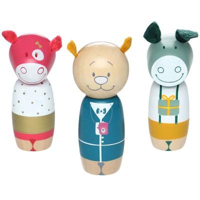 Set de 3 personnages Anniversaire en bois Noukie's