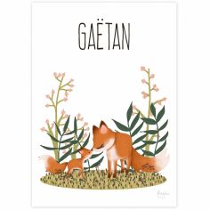 Affiche A3 Maman renard et son petit (personnalisable)
