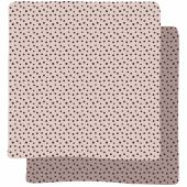 Lot de 2 maxi langes Happy Dots rose (120 x 120 cm) - Done by Deer