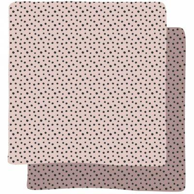 Lot de 2 maxi langes Happy Dots rose (120 x 120 cm)  par Done by Deer