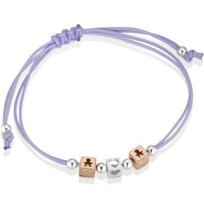 Bracelet cordon lila 2 cubes garçon 1 cube coeur (or rose 375° et argent 925°)  par leBebé