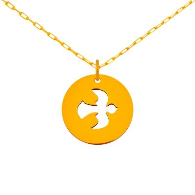 Médaille colombe et anneau sur chaîne (or jaune 18 carats)  par Maison La Couronne