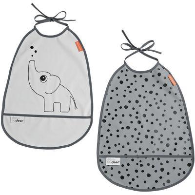 Lot de 2 bavoirs imperméables à poche Elphee gris  par Done by Deer