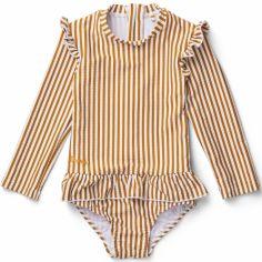 Maillot de bain manches longues Sille stripe mustard white (1-2 ans)