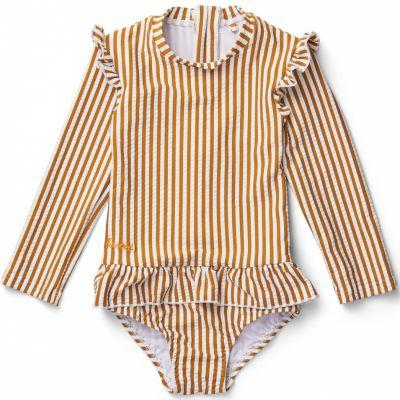 Maillot de bain manches longues Sille stripe mustard white (1-2 ans)  par Liewood