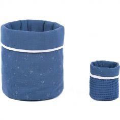 Lot de 2 paniers de toilette bleu et argenté