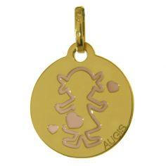 Médaille Petits Trésors Fille laquée (or jaune 750°)