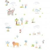 Papier peint animaux Les papoum blanc (10 m) - Moulin Roty