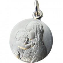 Médaille ronde Vierge Botticelli relief 18 mm (argent 925°)  par Martineau