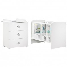 Pack duo lit bébé têtes panneaux blanc et commode à langer étoile New Basic
