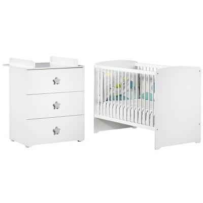 Pack duo lit bébé têtes panneaux blanc et commode à langer étoile New Basic Baby Price