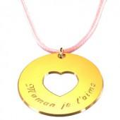 Pendentif sur cordon Message du coeur (plaqué or jaune) - Petits trésors