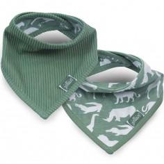Lot de 2 bavoirs bandana Safari vert d'eau