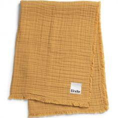 Couverture en coton froissé jaune Gold (70 x 100 cm)