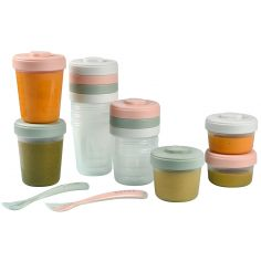 Pack 1er repas avec pots de conservation et cuillères Eucalyptus (14 pièces)