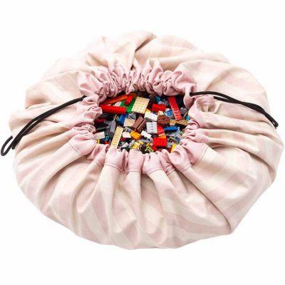 Sac à jouets 2 en 1 Printed Colors Rayures roses Play&Go