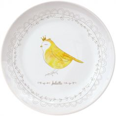 Assiette en porcelaine Oiseau (personnalisable)