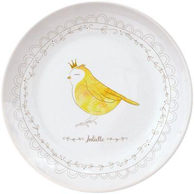 Assiette en porcelaine Oiseau (personnalisable)  par Gaëlle Duval