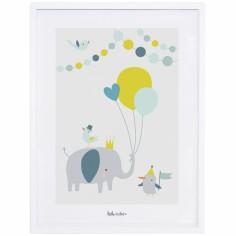 Affiche encadrée éléphant ballon garçon Animals party by Sarah Betz (30 x 40 cm)