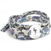 Bracelet Liberty maman flamant personnalisable (argent 925°) - Petits trésors