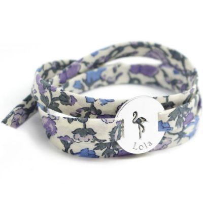Bracelet Liberty maman flamant personnalisable (argent 925°)  par Petits trésors
