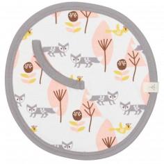 Doudou attache-sucette renard rose