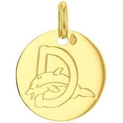 Médaille D comme dauphin personnalisable (or jaune 750°)