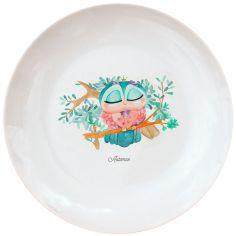 Assiette en porcelaine Chouette (personnalisable)