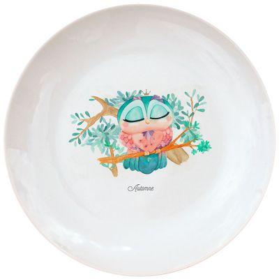 Assiette en porcelaine Chouette (personnalisable)  par Gaëlle Duval