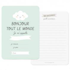 Carte naissance Bonjour bleue (A6)
